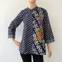 Blouse lengan panjang batik cap bordir furing katun wanita