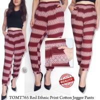 BBJ10694 Tomtailor red ethnic print cotton jogger pants branded ori