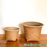 LARGE Cover Pot Bamban, Pot Tanaman Anyam, Bakul Purun, Bakul Bamban