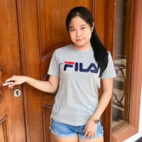 T-shirt / kaos cewek / baju wanita / kaos Fila cewek / baju Fila Abu