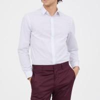 Kemeja Kerja Kantor H&M Hnm Easy Iron White Dot Shirt Original