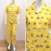 Piyama Dewasa Wanita Motif Gudetama Yellow (Celana Panjang)