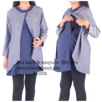 Baju hamil 1591 biru Blus hamil menyusui panjang