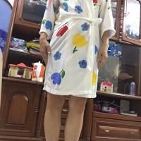 kimono baju handuk dewasa dasar putih sablon