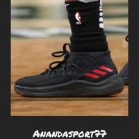 SEPATU ADIDAS - SEPATU BASKET COWOK - DAME 4  black red