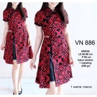Dress Cheongsam Batik Belah Sepan Baju Wanita Imlek Chinese Shirt 1670