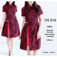 Dress Cheongsam Batik Belah Baju Wanita Imlek Lunar Chinese 1672