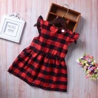 Baju Anak Import | Dress Motif Kotak Kotak Merah Hitam