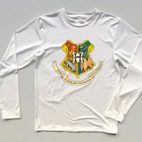 Kaos / tshirt / baju Harry Potter logo Hogwarts lengan panjang putih