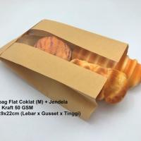 Paperbag kantong kertas coklat 14x9x22 (M)+ jendela. Bakery roti kue