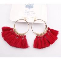 Anting Tassel Bohemian Ethnic Silk Earrings Korea
