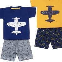 Baju anak laki setelan motif pesawat ready biru ukuran 4th