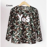 Baju Kaos Long Sleeve Army Loreng Wanita YES Best Seller Shirt 1307