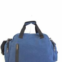 Tas travel fashion / tas olahraga / tas selempang kanvas import S - Biru dongker