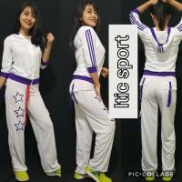Baju Senam Aerobic Hijab Lapangan Bintang Double Putih List Ungu