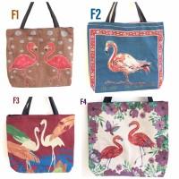 Tas tote bag kanvas thailand flamingo series import
