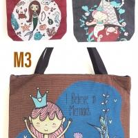 Tas tote bag wanita kanvas thailand mermaid series import