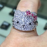Cincin Hello Kitty Emas Putih 750 Ring White Gold 18