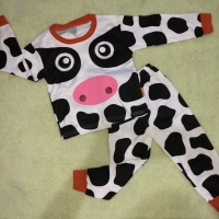 Baju Tidur Anak Bayi Balita/ Piyama Anak Motif Sapi 100% COTTON