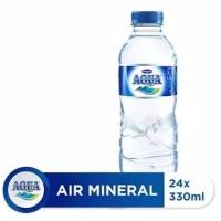 Air Mineral Aqua ukuran 330 ml, aqua mini 1 dus isi 24. Murah