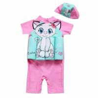 Baju renang anak perempuan motif kucing dan berpelampung