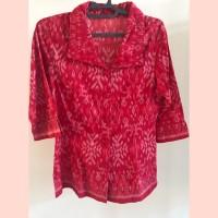PRELOVED atasan batik wanita berkerah warna merah