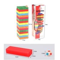 Mainan asah otak UNO JENGA kayu jumbo dadu susun balok warna blocks