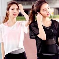 Atasan Outer Jaring Senam Zumba Aerobic Olahraga Jogging Mesh Shirt