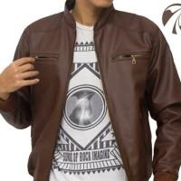 Jaket Kulit Sintetis warna Dark Brown / Coklat Tua