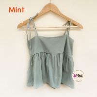 Tank top kerut / baju atasan wanita tali spaghetti korea / pantai cewe