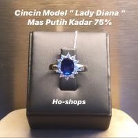 Cincin Mas Putih King Sapphire Kadar 75% Asli Emas
