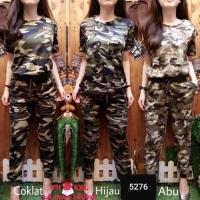 Set Army Loreng Wanita Baju + Celana Best Seller - 5276