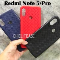 Softcase case xiaomi redmi note 5 pro woven anti heat kulit leather