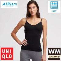 UNIQLO Women AIRism Kamisol Kaos Dalam Tank Top Wanita Black