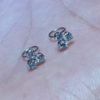 Anting Toge Bayi Emas Putih 750 Permata 3 Baby Earrings White Gold