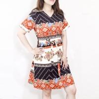 Dress batik wanita lengan pendek Vneck terbaru bahan katun strecth