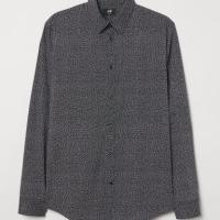 Kemeja H&M Patterned Slim Fit Stretch Shirt Black Original BNWT HnM