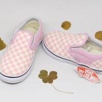Sneakers Vans Sheckerboard/Vans Classic Slip On-Pink White/Sepatu Anak