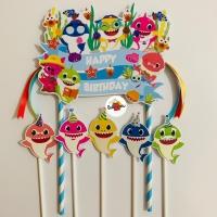 Baby Shark Blue Soft Topper Cake Birthday / Hiasan Kue Ulang Tahun