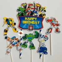 Transformer Rescue Bot Topper Cake Birthday / Hiasan Kue Ulang Tahun