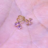 Anting Toge Bayi Anak Mata Pink 3 Emas Putih 750 Earring
