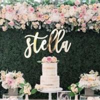 Name Signage Acrylic Mirror Gold Backdrop Lamaran Wedding Sign Bazaar