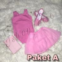 Baju ballet Anak Paket A(baju,stocking,sepatu ballet, rok chiffon)