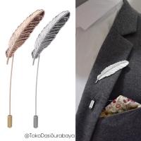 Bros jas/ lapel pin/ tuspin/ corsage aksesoris jas motif bulu ready