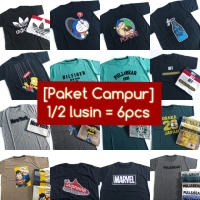 [Paket] 1/2 Lusin = 6 Pcs Baju Kaos Campur Warna & Gambar Distro Murah