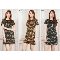 Dress Army Loreng Baju Wanita 3 Warna Best Seller Shirt - 588
