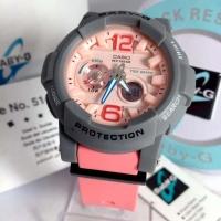 Jam Tangan Wanita Merk Casio Baby-G BGA-180 Pink Abu Ori BM FullSet