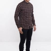Baju Kemeja Panjang Flanel Pria, Warna Coklat Garis Hitam