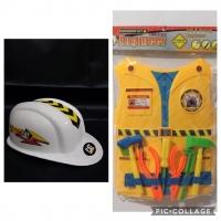 Mainan Helm Topi Tameng Baju Insinyur Engineer Teknik Mesin Kuning