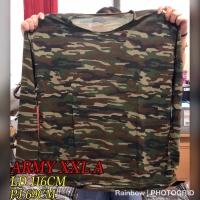 Baju Kaos Lengan Panjang Wanita ARMY LORENG XXL JUMBO Big Size 3343
